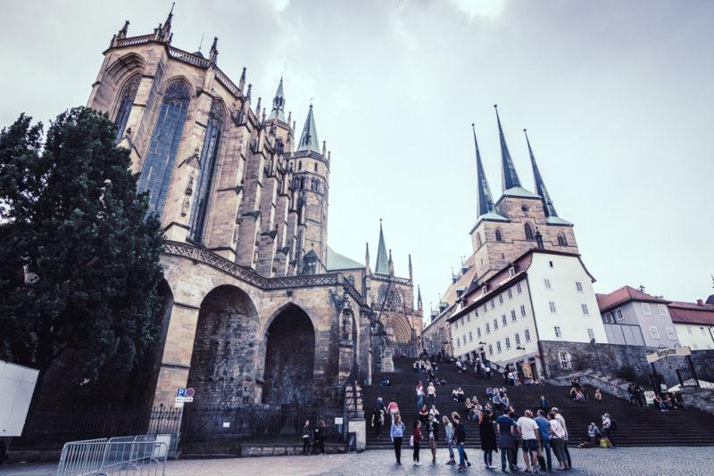 Der Erfurter Dom bei Sonnenuntergang